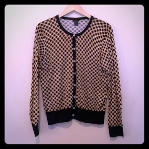 Ann Taylor navy and tan spotted cardigan